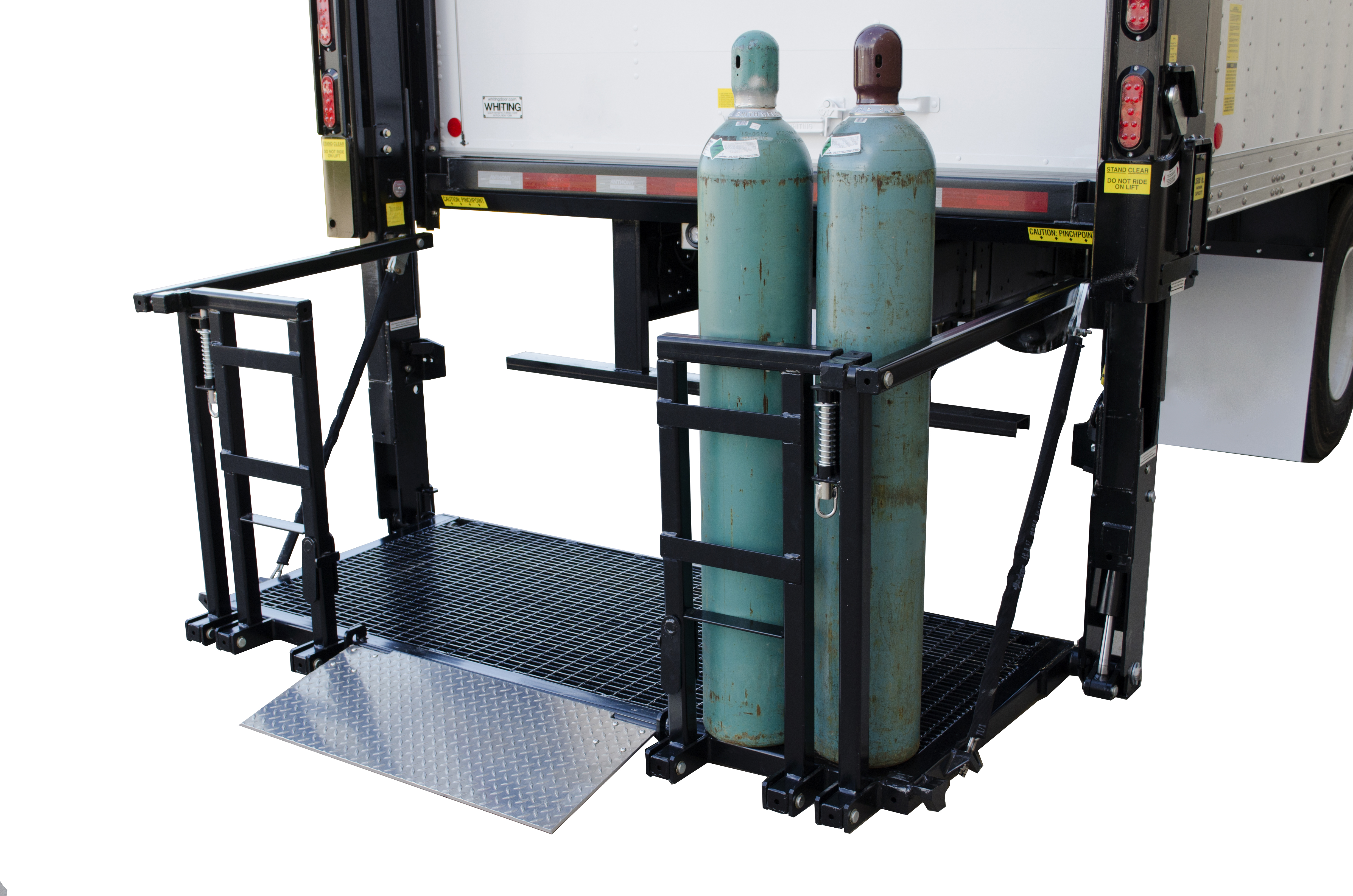 Gas Bottle Handling liftgate at ground level